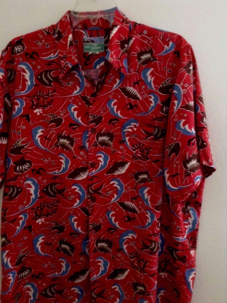 Reyn spooner hawaiian sword fish shells red print shirt for Lsu hawaiian print shirts