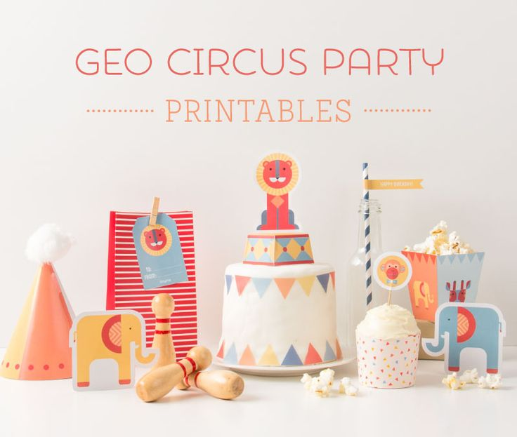 The circus has come to town! Join in the fun with these 'Geo Circus Party' Printables - FREE from Tinyme