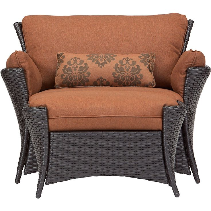 Hanover Strathmere Allure 2 Piece Set - Oversized Armchair and Ottoman. Weather-resistant outdoor set includes oversized armchair with more room for comfortable relaxation plus deep-cushioned ottoman. Back, seat and specialty side cushions are quick-drying, stain-resistant, UV protected and wrap you in deep comfort. Durable, rust-resistant steel frames are covered with UV-protected, traditional hand-woven 100% resin wicker. Matches beautifully when combined with the Strathmore Allure 4…