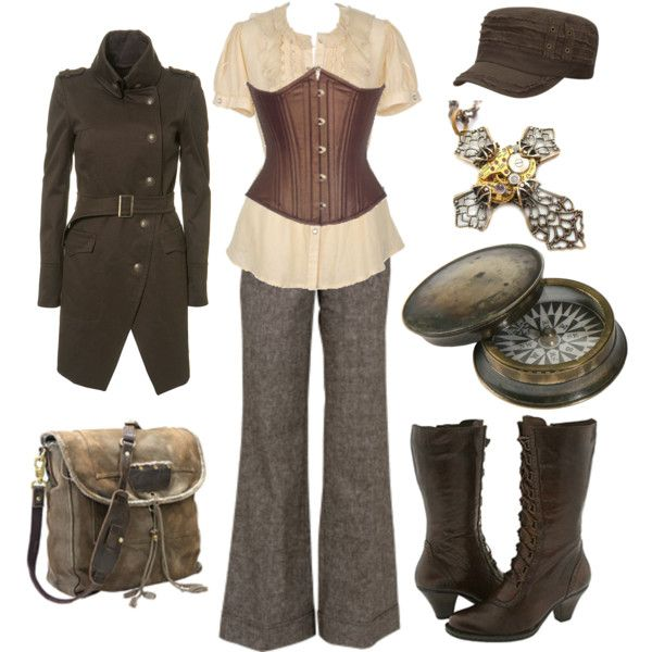 Military Steampunk by princessgeek86 on Polyvore featuring Charlotte Russe, Carita and Topshop