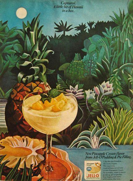1967 Jello Pineapple Cream Flavor Ad ~ Hawaii in a Box