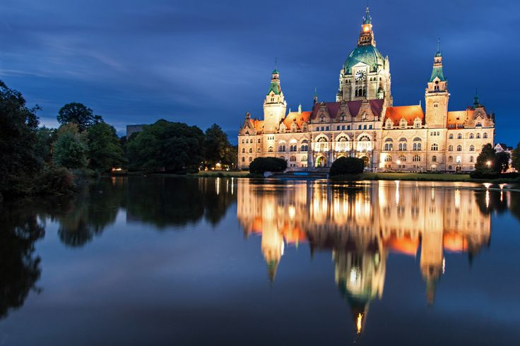 Snow White | Neues Rathaus | Hannover, Germany.  There is a magic mirror in Snow White, this lake is just like a big magical mirror that tell which building is the most beautiful.