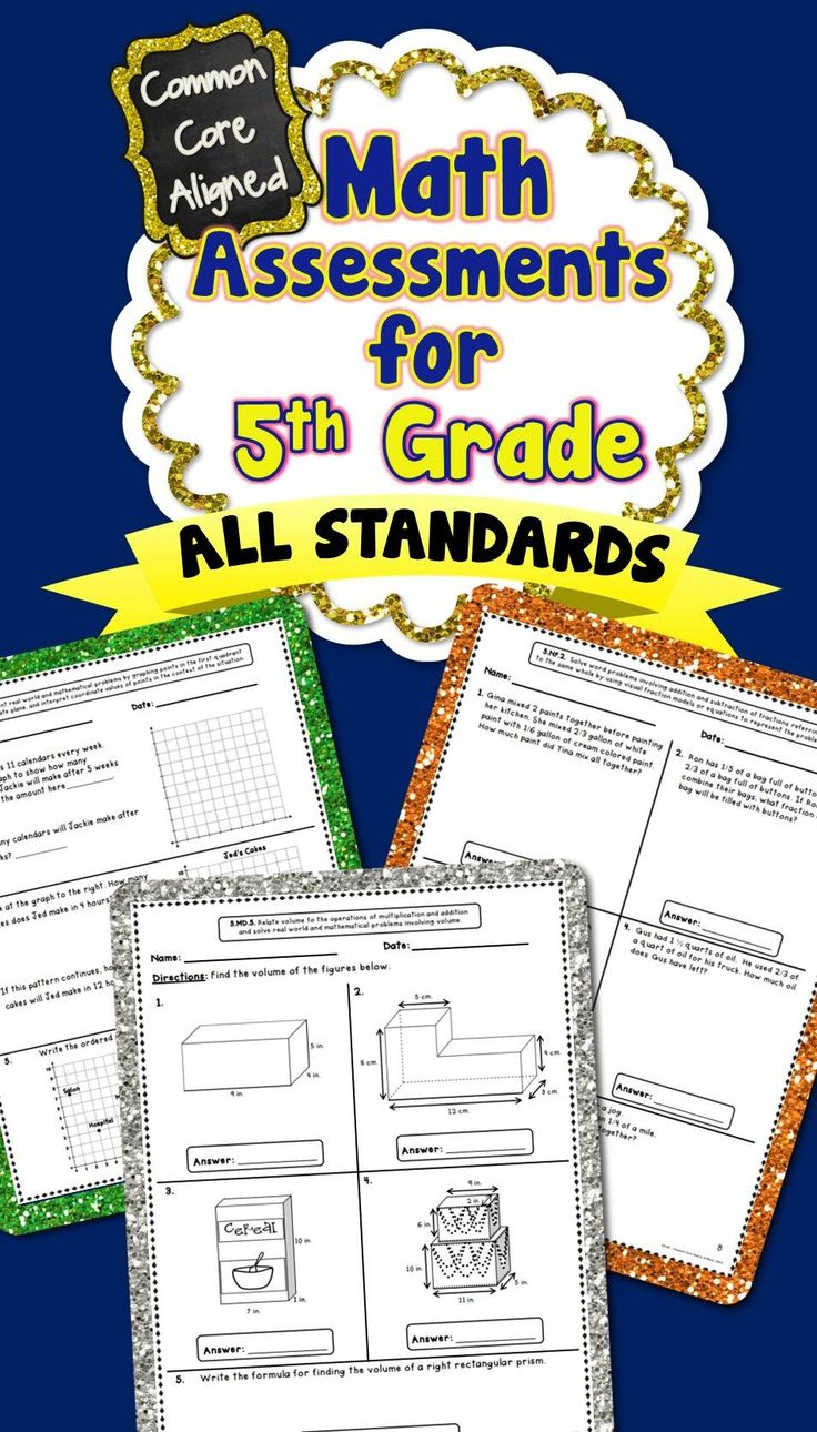 **SALE: 28% OFF** 5th Grade Common Core Math Assessments...There are 2 assessments included for each standard! These assessments packs are also available for grades 1-4! #commoncore #commoncoremath #commoncoreassessments
