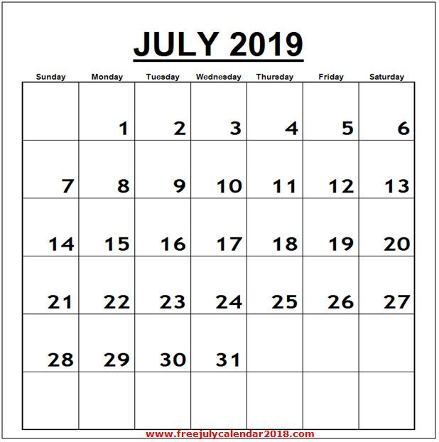 Calendar For July 2019 Word Vertical Calendar Printables July