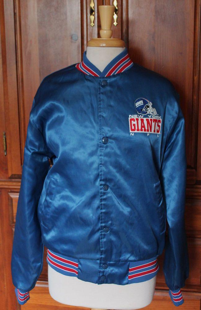 Vintage ChalkLine New York Giants Blue Satin Football Jacket Mens Medium #ChalkLine #NewYorkGiants #Vintage #Jacket #1980s #80s #Football