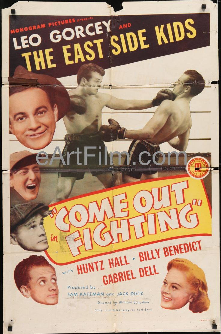 As with people, the effects of time give our posters more character: Come Out Fighting... Have a look! http://eartfilm.com/products/come-out-fighting-east-side-kids-leo-gorcey-huntz-hall-boxing-comedy-1945-27x41?utm_campaign=social_autopilot&utm_source=pin&utm_medium=pin