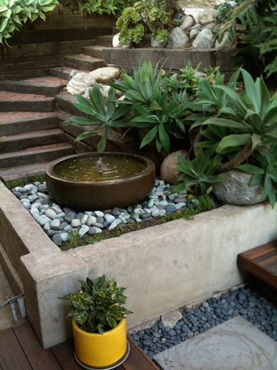 This simple water feature with contrasting Agaves backing it up is most pleasing in this urban oasis.