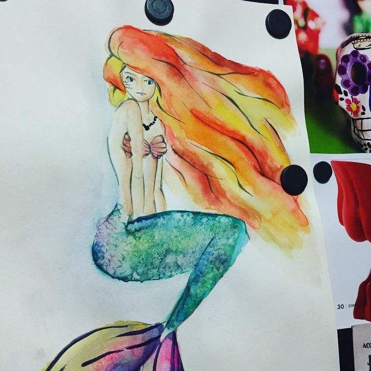 Mermaid feita com aquarela e sal. #Draw #drawings #sketch #desenho #esboço #artist #artista #creativity #criatividade #instaart #instart #artgram #artoftheday #art #creative #arte #salt #watercolor #watercolour #aquarela #sal #technic #brush #pincel #mermaid #sereia #siren #colorfulhair
