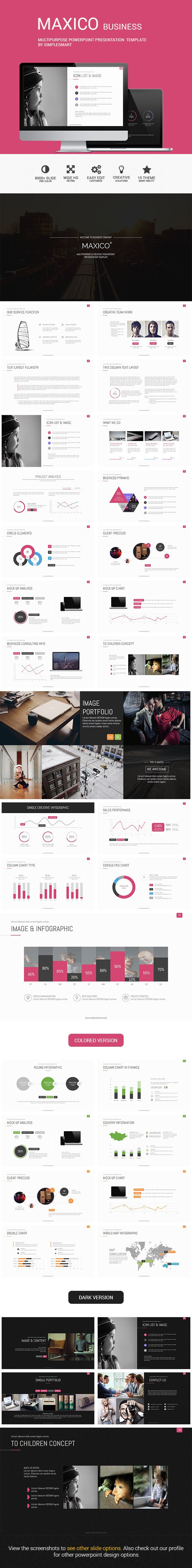 MAXICO - Multipurpose Presentation Template PowerPoint Template / Theme / Presentation / Slides / Background / Power Point #powerpoint #template #theme