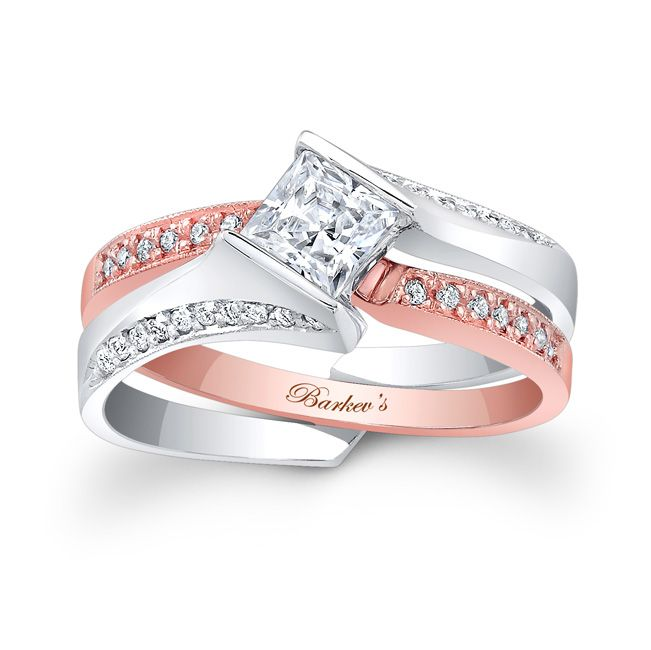 Stunning And Unique This Two Tone Rose White Gold Interlocking Diamond Wedding Set Exudes Confidence For The Woman Who Wears It