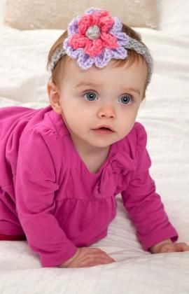 Bloomin' Baby Headband Free Crochet Pattern from Red Heart Yarns