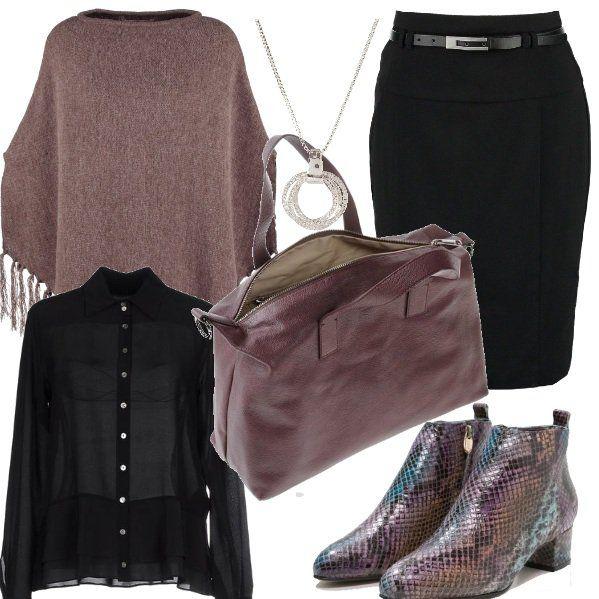 Outfit+versatile,+adatto+sia+per+il+lavoro+che+per+una+passeggiata+in+centro+con+le+amiche.+Gli+stivaletti+di+pelle+stampa+coccodrillo+possono+essere+abbinati+a+tantissimi+colori,+io+l'ho+fatto+con+gonna+e+camicia+trasparente+nere,+una+calda+mantella+beige+e+una+borsa+da+lavoro+beige+rosata.+Per+finire+una+collana+argentata.