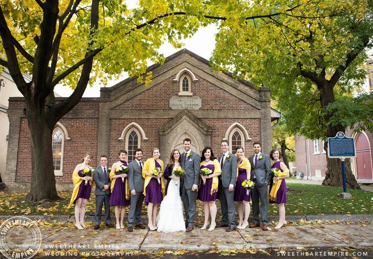 Enoch Turner Schoolhouse - The bridal party in front of venue. #sweetheartempirephotography