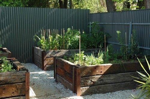 Railway sleeper garden beds.