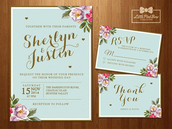 Personalised floral mint gold printable wedding invitation and stationery set (Digital files only). High resolution, 300 pixel/inch, PDF