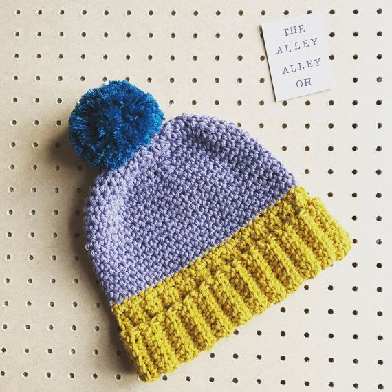Baby Bobble Hat in Mustard / Grey Teal Bobble by TheManchesterBee