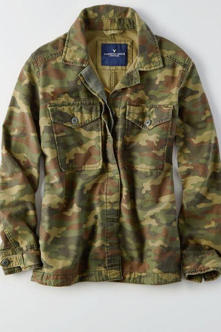 AE Embroidered Camo Shirt Jacket