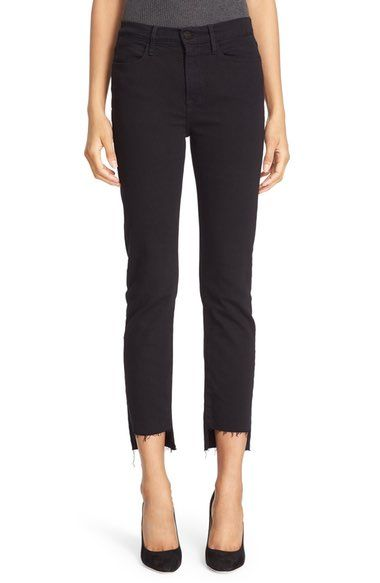 Main Image - FRAME 'Le High Straight' High Rise Staggered Hem Jeans (Film Noir) (Nordstrom Exclusive)