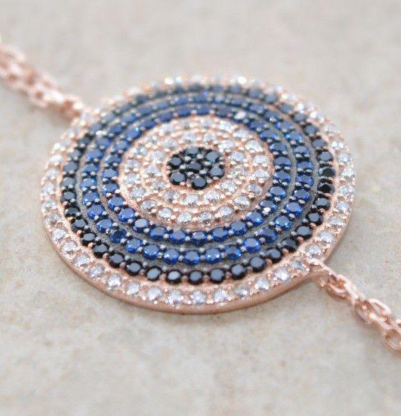 Sterling Silver 925 Bracelet Rose Gold Plated Blue Sapphire Black White Zircon