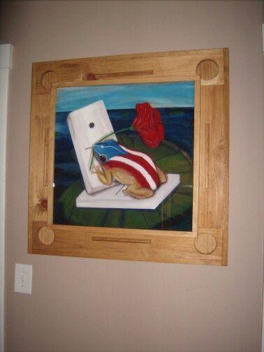 Mesa domino Coqui con Bandera Puerto Rico