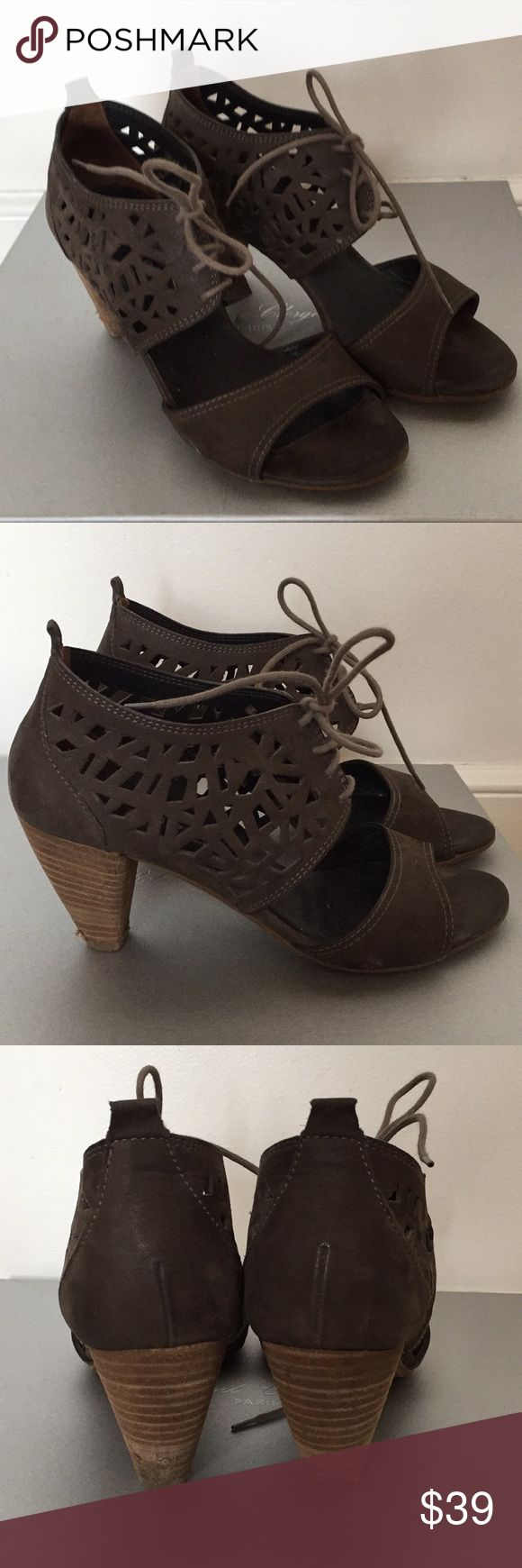 """Paul Green nubuck sandals Super stable punched leather. Lace up suede sandal. Great for in between seasons. Stacked 2"""" heel Paul Green Shoes Sandals"""