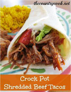 Slow Cooker Shredded Beef Tacos - This slow cooker Mexican pulled beef recipe is versatile, and can be used for tacos, taco salad, and more.
