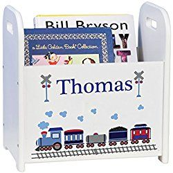 Personalized Child's Book Storage Magazine Rack - Train