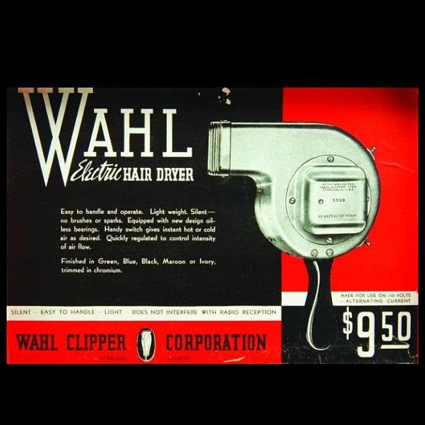 .@wahlpro | #tbt An original Wahl hair dryer. Check out that great price! | Webstagram - the best Instagram viewer