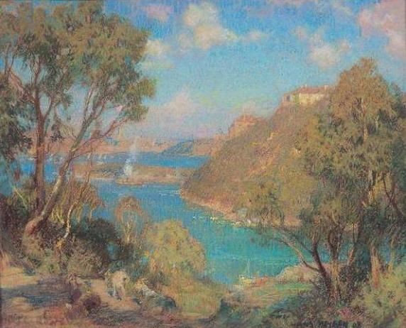 Sir Hans Heysen, Goats grazing on the foreshore at Mosman, 1908