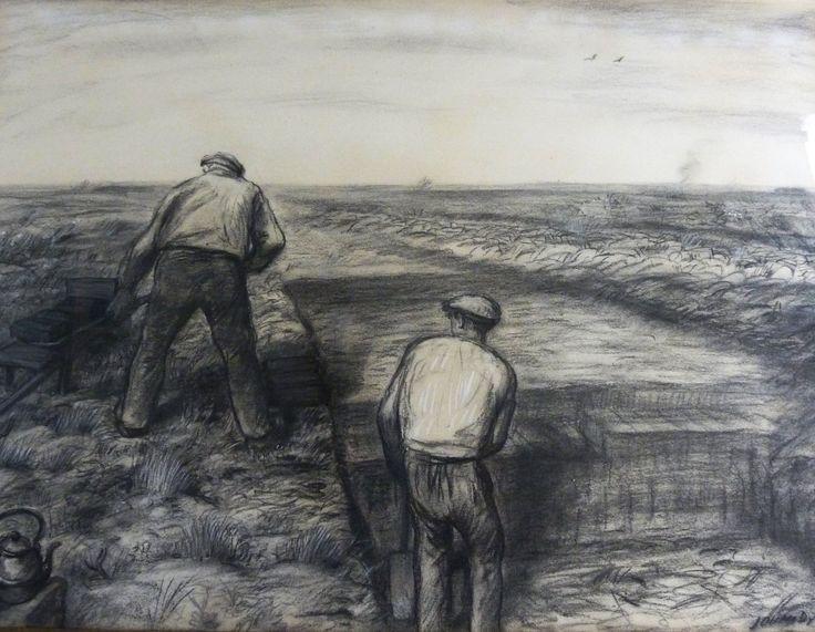Collectie Kunstkring De Ploeg MOW: Johan Dijkstra, Veenarbeiders, z.j., 75 x 55 cm, houtskool