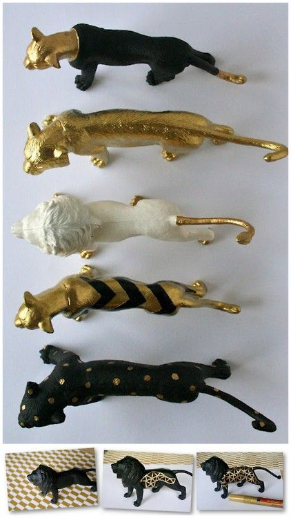 DIY gold patterned animals- I don't know why, but I loooove this.