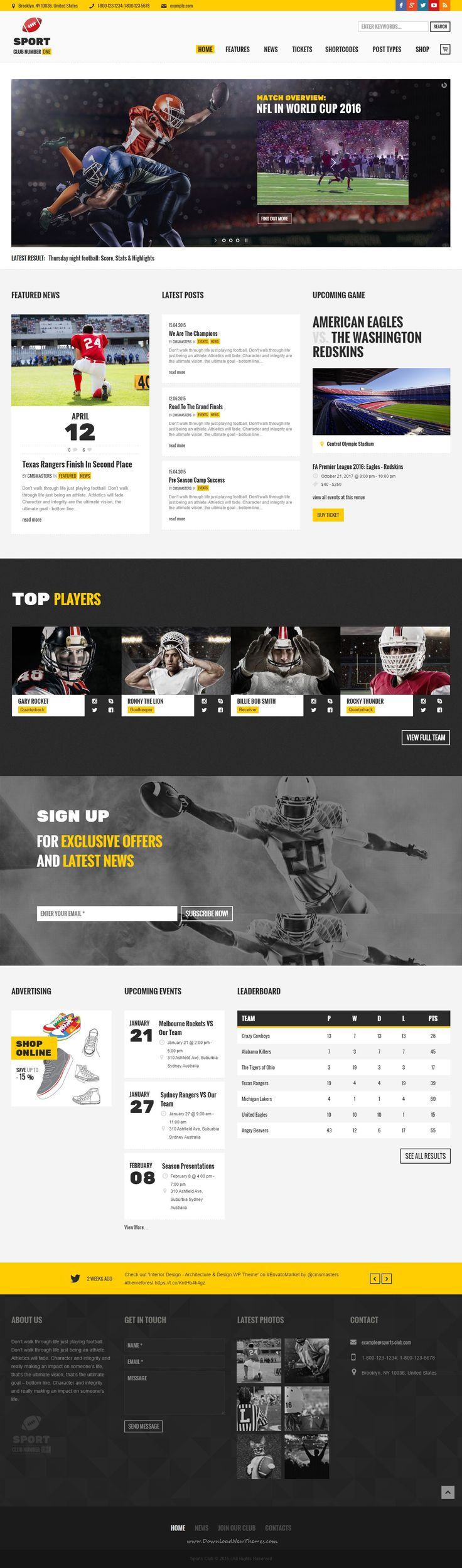 Sports Club #WordPress Theme is a best ever solution for a #sports #website, like a football, baseball or soccer team site, sports events and games, sport news online magazine, children's sports clubs and sections, etc.
