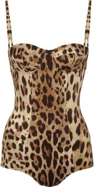 Dolce & Gabbana Leopardprint Swimsuit in Animal (leopard) - Lyst