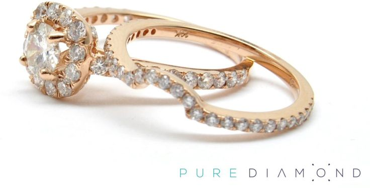 Small Diamond Halo and a Wedding Band. Small diamonds are great as well; this is a ring that features the center, 0.25 carat diamond as shown, side diamonds, and wedding band.  At PureDiamond.ca we have unparalleled friendly service. If you're in the Greater Vancouver area please call (604) 563-9875 to book an appointment.