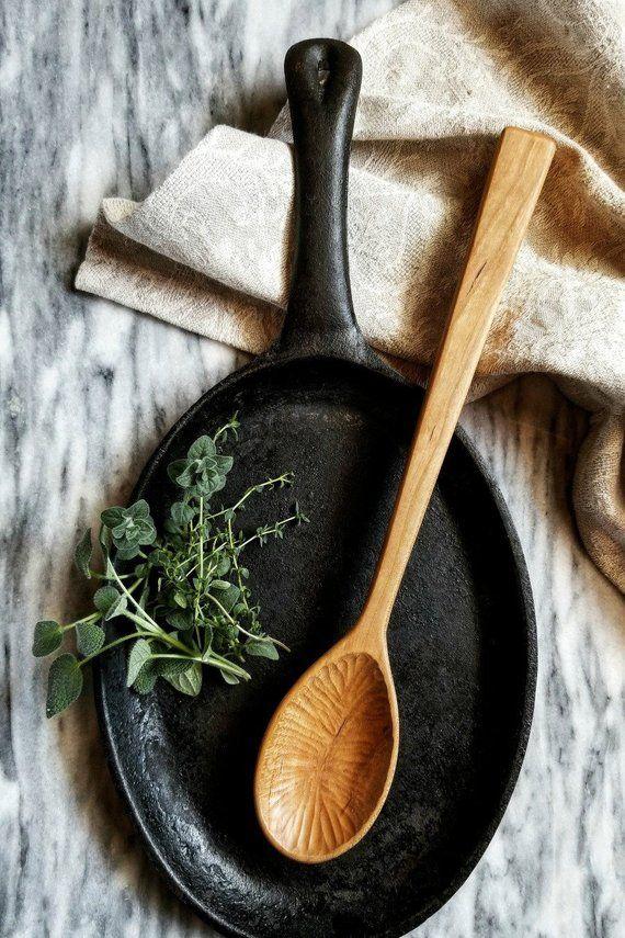 Chiseled Bowl Serving Spoon   Handmade Wooden Spoon   Fine ...