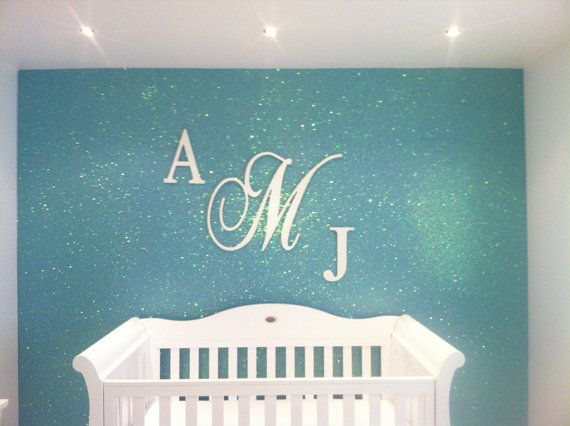 GLITTER and SPARKLE three piece Monogram Wall by acharmedlifeinc, $130.00 - That's a real nice combination between the blue and glitter
