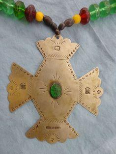 Large Hudson Bay Trade Cross w/ Green Beads