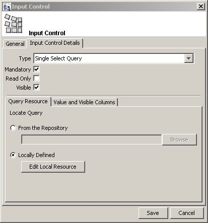 reports input control details