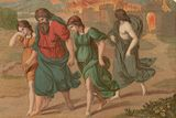 Lot and his family flee Sodom.