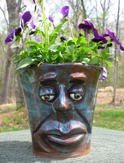 Lovely Face Plant Pot Made From Stoneware. Will Not Crack In Winter. | Face Jugs |  Pinterest | Face Planters, Head Planters And Plants