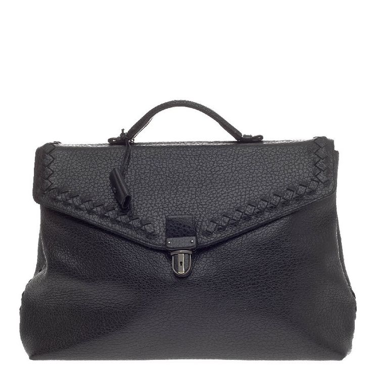 Bottega Veneta Envelope Briefcase Leather with Intrecciato Detail - This Bottega Veneta Envelope Briefcase Leather with Intrecciato Detail is a classic briefcase perfect for daily or business excursions. Crafted in black pebbled leather with signature intrecciato details, this structured yet stylish briefcase features a single loop handle, back zip pocket, leather clochette with key and gunmetal-tone hardware accents. Its slide-lock closure opens to a taupe fabric interior with two open…