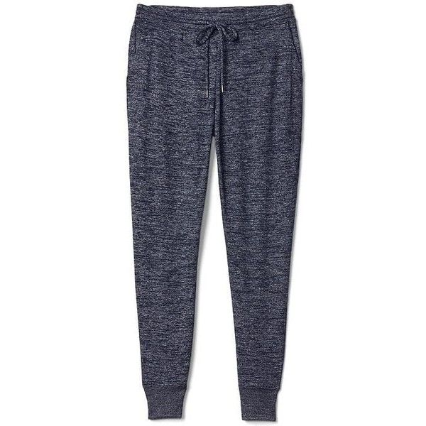 Gap Women Softspun Knit Joggers ($50) ❤ liked on Polyvore featuring activewear, activewear pants, navy marl, regular, petite activewear pants, gap sportswear, tall activewear, gap activewear and petite sportswear