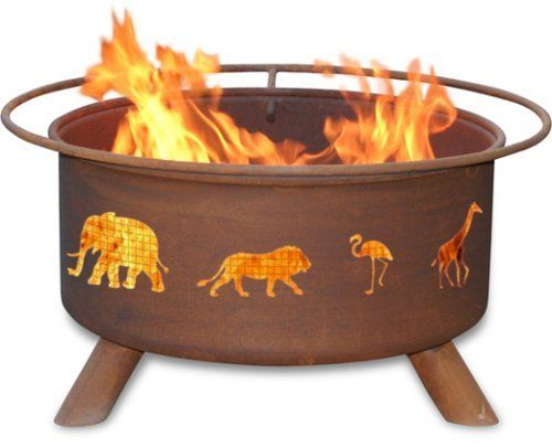 Patina Products F113,  30 Inch Safari Fire Pit by Patina. Save 10 Off!. $234.57. Wire mesh lines the inside of the firepit to prevent sparks and embers escaping through the cutout design. Comes fully assembled for immediate use. Portable design allows fire pit to move easily from patio to beach. Five-year warranty: Fire pits guaranteed not to burn through or rust through for five years.. Natural rust patina finish ages beautifully over time. Lions, and Flamingos, and Elephants,...