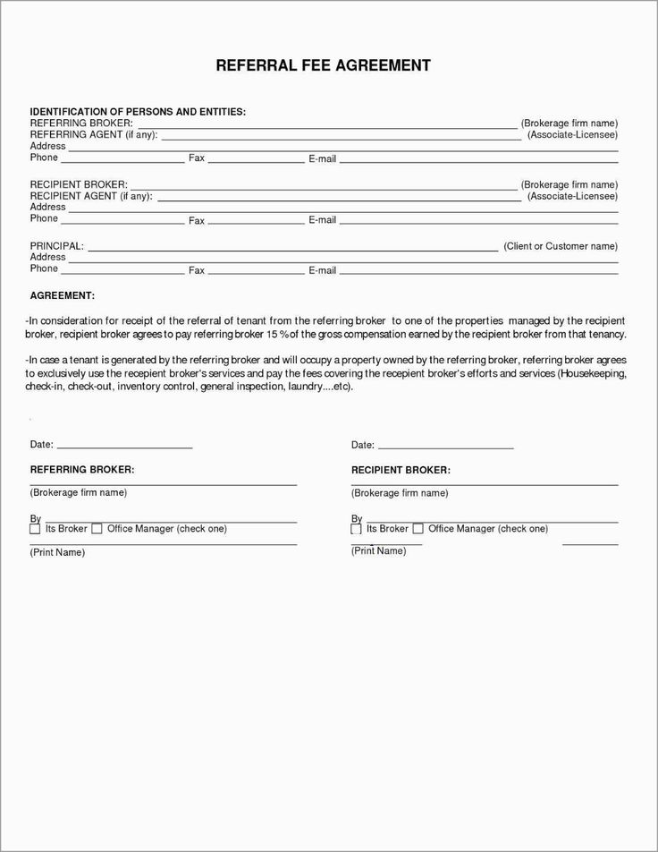 Free Real Estate Referral Form Template Astonishing