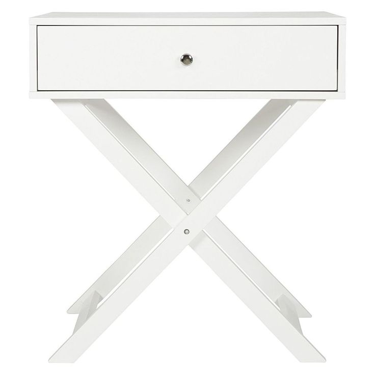 Cross White Side Tables Console Drawer Bedside Bedroom Furniture Storage Cabinet
