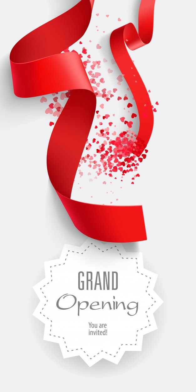Download Grand Opening You Are Invited Lettering With Red Ribbons For Free Grand Opening Vector Free Red Ribbon