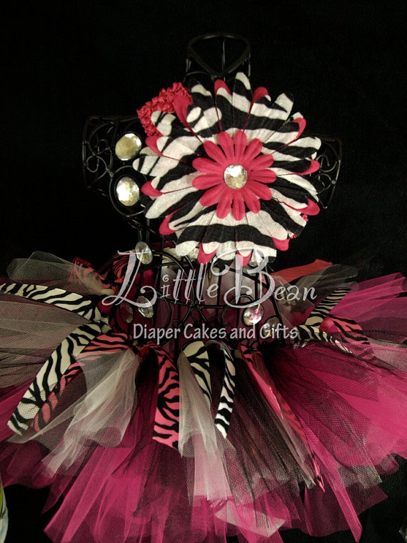Pink and Zebra Tutu Flower Clip and by LittleBeanDiaperCake, $24.00