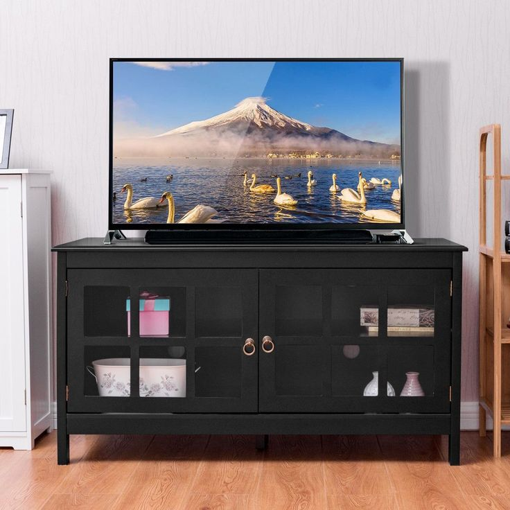 Giantex 50'' TV Stand Modern Living Room Wood Storage Console Entertainment Center with 2 Doors Home - ICON2 Luxury Designer Fixures #Giantex #50'' #TV #Stand #Modern #Living #Room #Wood #Storage #Console #Entertainment #Center #with #2 #Doors #Home