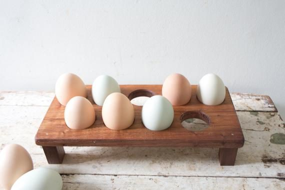 Farmhouse Egg Holder Wooden Table Egg Caddy Egg Stand Countertop