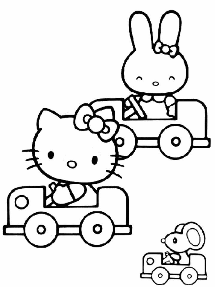 Hello Kitty And Her Car Coloring Page